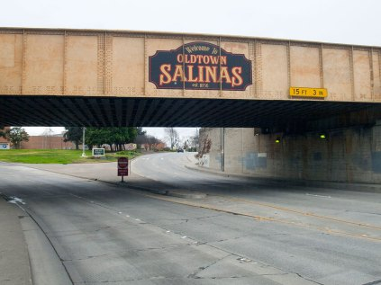 """Welcome to Oldtown Salinas. est. 1856"" was painted on the train trestle over North Main Street in July 2008."