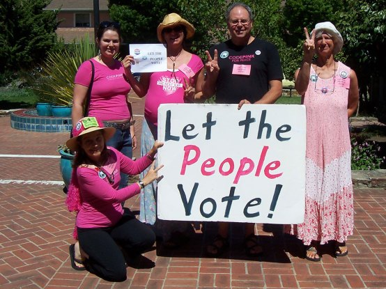 "CodePink Louis - the ""Let the People Vote"" Campaign - 2006 - Santa Cruz City Hall. Photo via Sherry Conable."