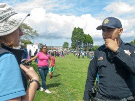 A Watsonville Police Officer Listens to the Complaint