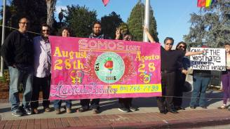 ¡Viva Orlando! Don't leave Orlando, Orlando! SOMOS LGBT at the Watsonville Plaza in solidarity with Orlando, Florida.