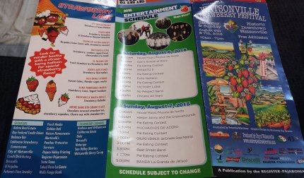 The program guide for the Festival includes artwork, the entertainment schedule, sponsors, and donors, as well as non-profit organizations and their strawberry themed foods for sale. Note, there's also a typo on Sunday's date ;-)