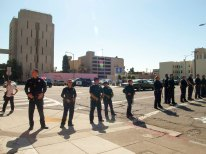 Oakland Police Form a Line in Front of the Jail