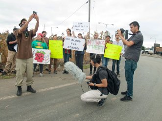 Michael Garcia of Watsonville Brown Berets livestreaming