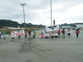 Blocking the entrance to Driscoll's Distribution Center in Aromas, CA