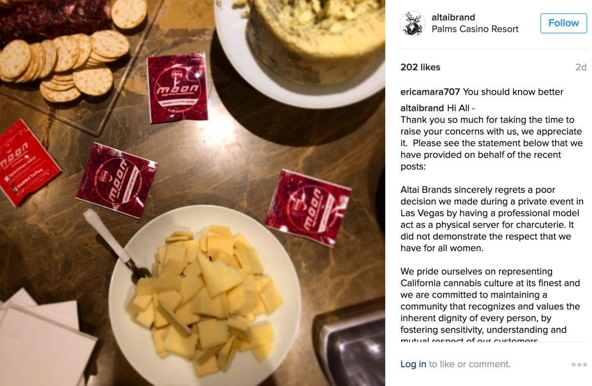 Altai Brands released their public relations statement as a comment to their after-party photo of their cannabis chocolates, salami, cheese, and crackers.