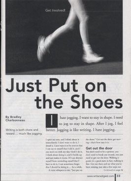 "Writer's Digest, November 2003 ""Just Put on the Shoes"" page 1"