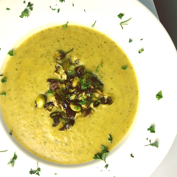 Zucchini Soup with Roasted Brussels Sprouts