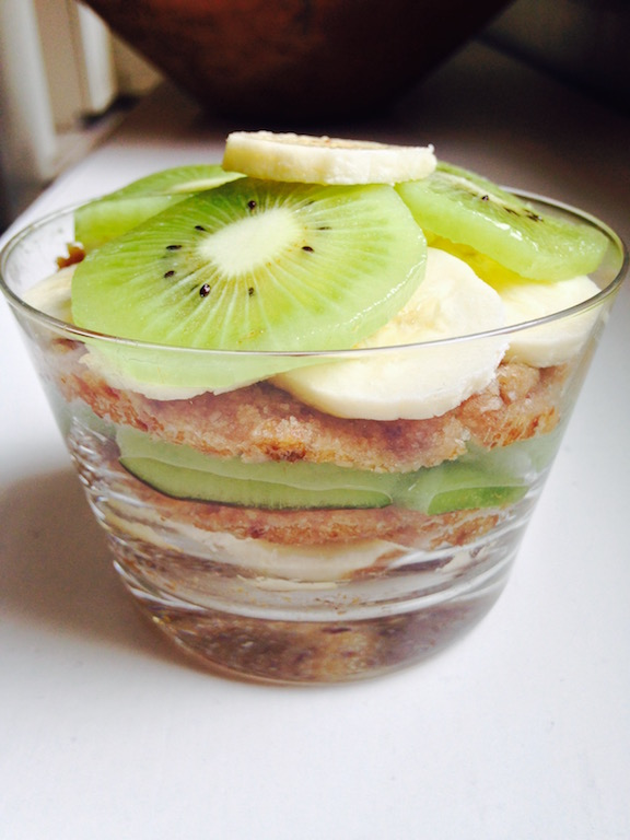 "You can also just layer the kiwi banana and coconut ""icing"" in a bowl, as shown here."