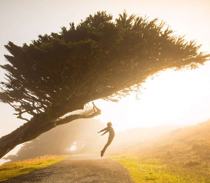 Exposure to early morning sunlight will have you waking up with energy like the man in this photo.