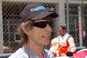 Mick Jagger in Monaco on the starting grid of the Grand Prix