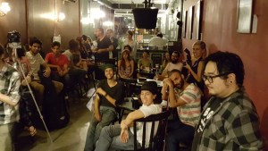 Crowd at Genius de Genios open mic in Sao Paulo