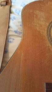 repaired guitar one closeup