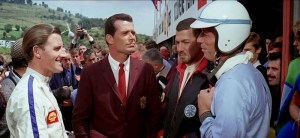 Graham Hill and Jo Bonnier, with James Garner and Yves Montand, in Grand Prix film