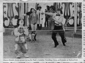 mark parr and brad spurgeon in action at puck's circus in 1976