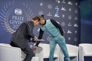 Lewis Hamilton head butts Tom Clarkson at F.I.A. prize giving (not really).  ©Photo Brad Spurgeon
