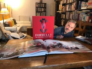 Me at home with my advance copy of the Formula 1: The Impossible Collection book.  Photo Credit: Ornella Bonventre