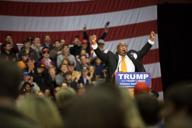 """Pastor Mark Burns speaking at Trump rally in Greenville. Wikipedia says I should credit this to Debrareneelee """"in the manner specified by the author or licensor."""" But I was unable to find out exactly how to do that."""