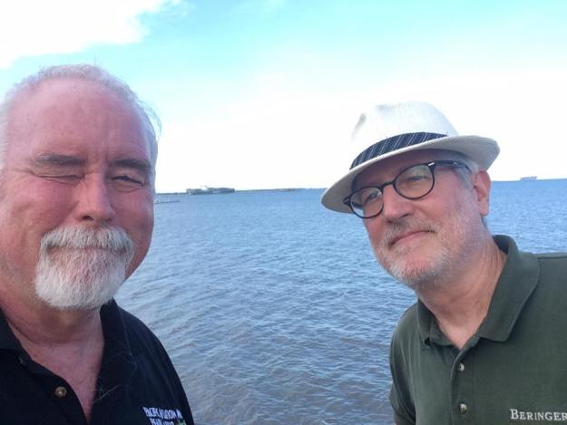 Burl and me, with Fort Sumter so far in the background you can't quite make it out.