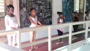 Some of her students at a makeshift barre.