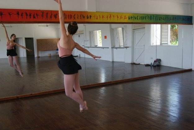 Here's Becca dancing in the studio back before the storm.