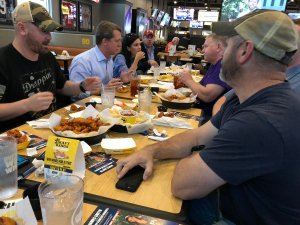 At Buffalo Wild Wings with the veterans.