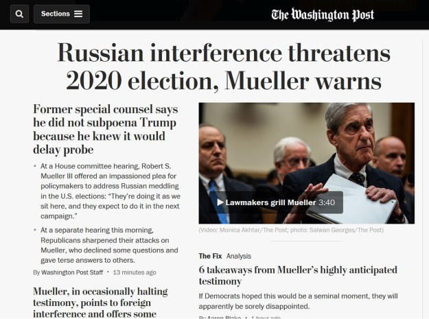 The first screen of The Post's homepage was all Mueller...