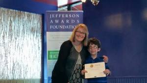 Braeden Mannering with Mayor Polly Sierer at Jefferson Awards Ceremony