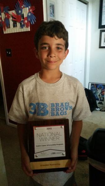 Braeden Mannering Kohls Cares National Scholarship Winner