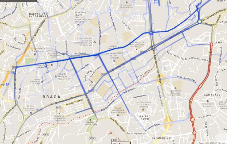 Mapa Braga Ciclável - percursos utilizados pelos ciclistas