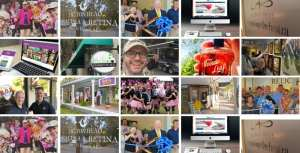 Collage of photos that include selfies with happy people, computers, laptops, ribbon cuttings, signs