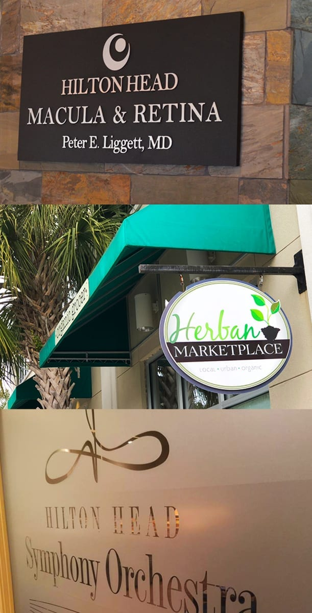 A collage of three photos of Hilton Head Macula & Retina sign, Herban Marketplace hanging sign and Hilton Head Symphony Orchestra frosted glass