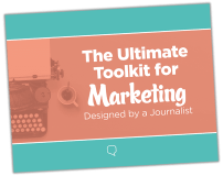 A colorful cover to a free ebook on how to use journalism's five ws and one h in marketing.