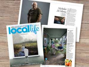 Local Life Magazine from Hilton Head Island is displayed on a wooden tabletop featuring their art issue