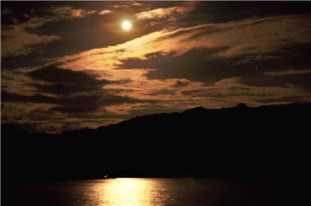Full moon rising in Sto Niño Bay, Ticao Island, Masbate