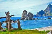 The Kissing Rocks of Chavayan Village in Sabtang Island is relatively unknown to many. This imposing rock formation is a sight to behold. The wooden contraption in the foreground is used to tow fishing boats to shore.