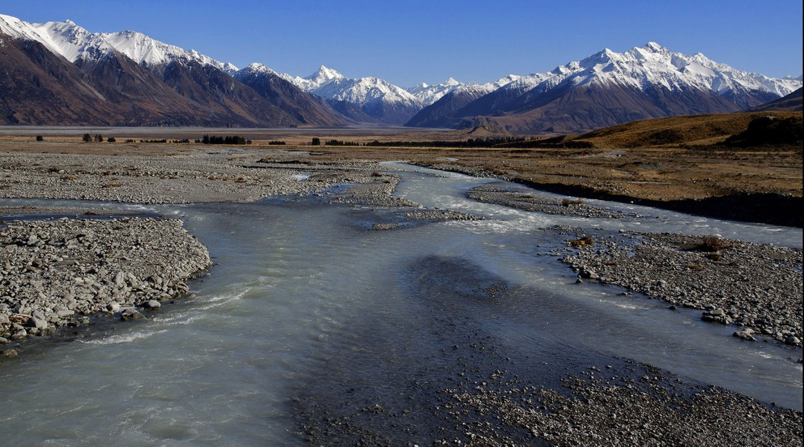 Potts River an upper tributary of the Rangitata River visible in the background