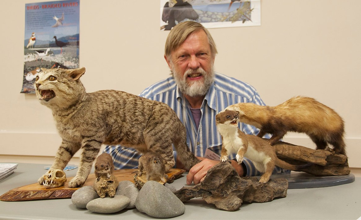 John Dowding with our collection of stuffed predators that we loan for educational purposes.