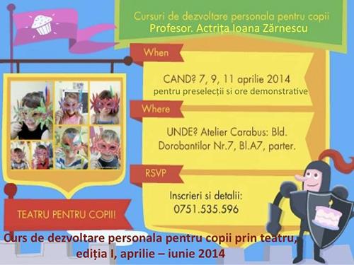 Cursuri de dezvoltare personală pentru copii prin teatru la Atelier Cărăbus