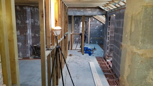 stud walls going up and plumbing first fix