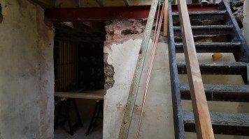 Old staircase temporarily in new position