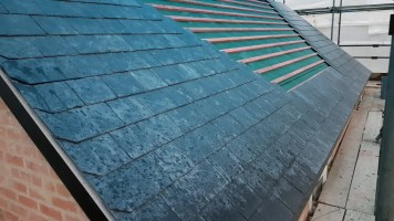 Front Roof with gap left for solar water heating panels