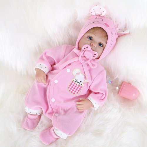 ENA Reborn Baby Doll Realistic Silicone Vinyl Baby 16 inch Weighted Soft Body Lifelike Doll Gift Set for Age 3+