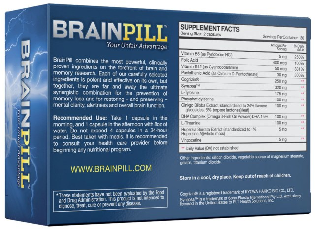 Label of Brain pill box