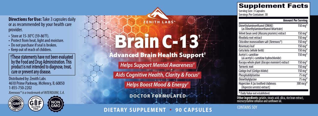 Brain C-13 ingredients and dosage