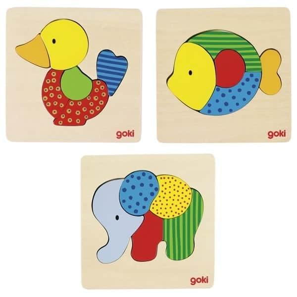 Einlegepuzzle Elefant, Fisch, Ente