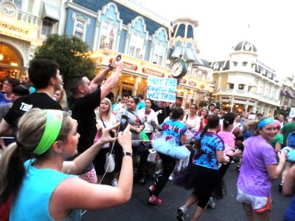 Running down Main Street in the Magic Kingdom.