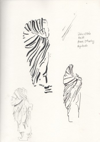 Study of cloth on marble statue of male