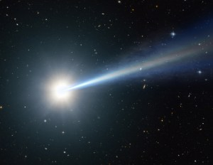 Artist's impression of one of the most distant, oldest, brightest quasars ever seen hidden behind dust.