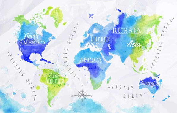 Watercolor world map green blue