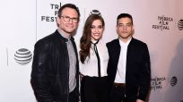 MR. ROBOT -- Hacked by DefCon and Mr. Robot at Tribeca Film Festival -- Pictured: (l-r) Christian Slater, Carly Chaikin, Rami Malek -- (Photo by: Dave Kotinsky/USA Network)